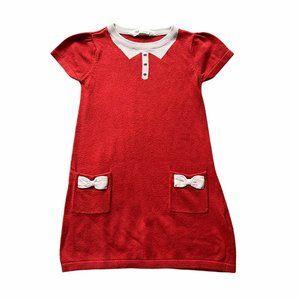 H&M 2-4Y Bow Peter Pan Sweater Shift Dress Orange